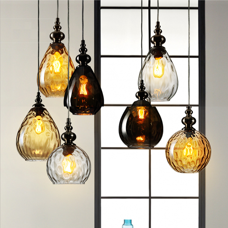 Art deco lustre led pendant lights lamp glass e27 bulb for dining room contemporary colorful led pendant lamp modern comedor bar fumat stained glass pendant lamps european style glass lamp for living room dining room baroque glass art pendant lights led