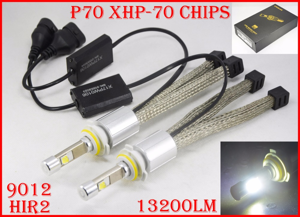 1 Set P70 LED Headlight 110W 13200LM LED Headlight XHP-70 Chips 4LED - Lampu mobil - Foto 6