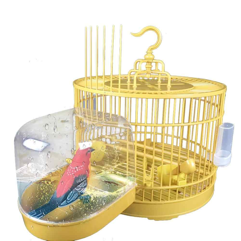 Parrot Bird Baths Bathtub Cleaning Tool Transparent Bath Box Bird Cage Accessories Hanging Tub Shower Bathing Bird Supplies 20E