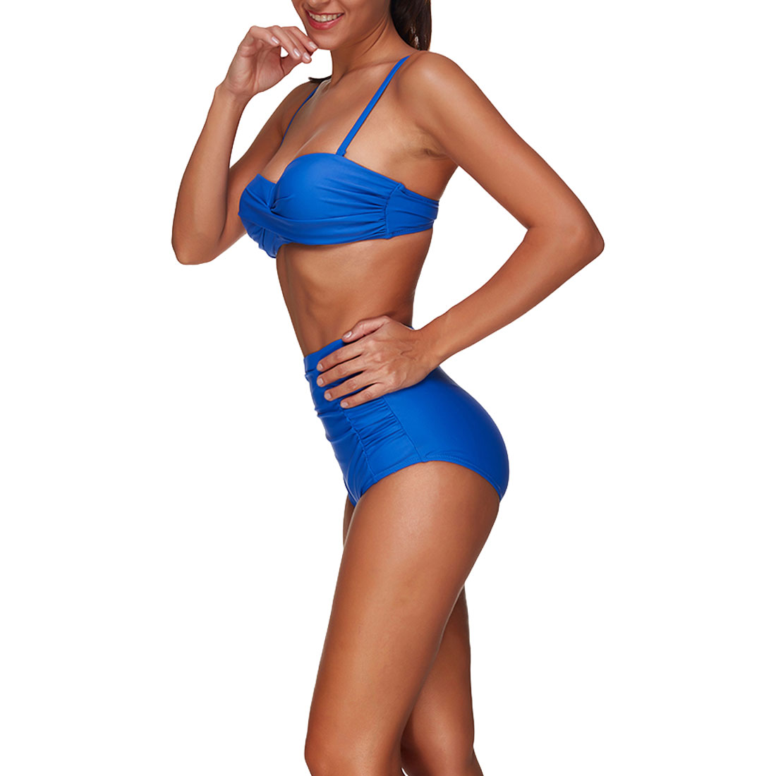 2018 Sexy Bikini Blue Halter Women Swimsuit Bandage Swimwear Vintage Bikini Set High Waist Swinsuit Roupa de banho Swim Wear