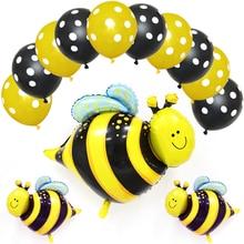 Bee Foil Balloons Black Yellow Polka Dots Latex Globos Set Bees Pet Animal Birthday Party Decoration Baby Shower Supplies стоимость