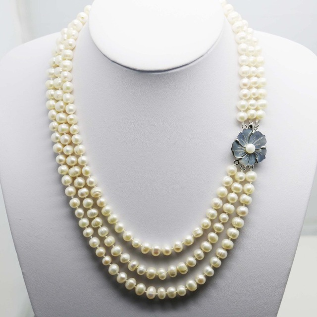 Fashion Popular Natural White Pearl Necklace 3Rows Neck chain Shell clasp Accessories for women girls ladies gifts Jewelry