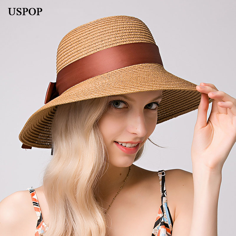 USPOP Hot Fashion Women Straw Sun Hat Female Wide Brim Bow-knot Ribbon Straw Hats Casual Summer Buckets Beach Hat