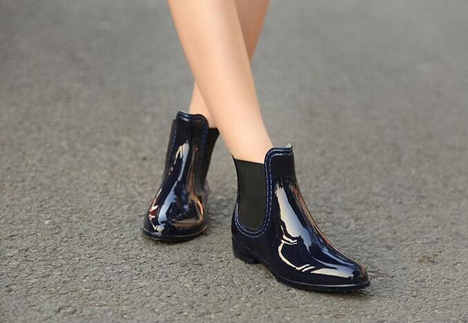 Moda Sólido Impermeable wine Tobillo Red Banda Botas De Elástica Mujeres Jalea Color Zapatos Negro 2019 azul Lluvia BP5qxwFB