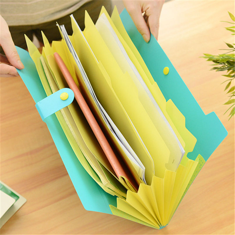 Coloffice Korea Simple 8 Into A Multi-layer Folder PVC Plastic A4 Papers Information Kits Student Stationery Office Supplies 1PC