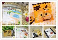200pcs 10*10 cm Halloween pumpkin smiley bag cake biscuit cookie pastry bakery candy packaging ziplock baking package