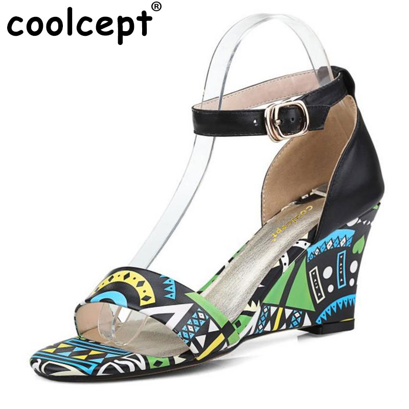 Coolcept Lady Real Leather Wedges Sandals Ankel Strap Print Summer Shoes Women Sandal Sexy Vacation Soft Footwears Size 33-42 люстра 36 х 68 х 68