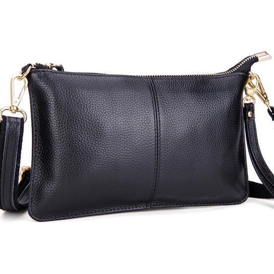 100% Genuine Leather Small Bag Women Envelope Clutch Bag Ladies Real Cowhide Casual Clutch Purse Fashion Shoulder Crossbody Bag