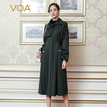 VOA 2017 Fall Winter Fashion Solid Army Green Heavy Silk Trench Coat Long Sleeve Plus Size Vintage Casual Women Coat FLH00901