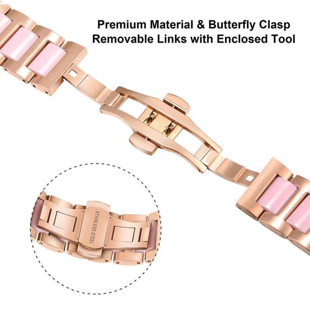 Ze stali nierdzewnej i ceramiczne pasek do zegarka iwatch zegarka Apple Watch Series 5 4 3 2 1 38mm 40mm 42mm 44mm kobiety pasek pasek na nadgarstek Link pasek