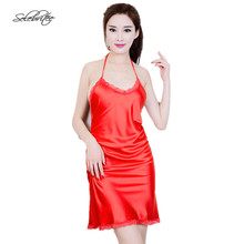 Selebritee Women Sleepwear Satin Halter Neck Dress Silk Nightwear Backless Sexy Nightgown for Lady Erotic Lingerie Hot Minidress(China)