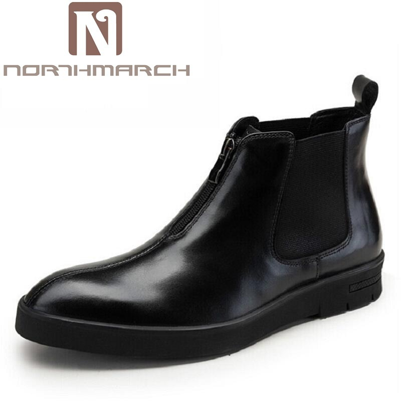NORTHMARCH Mens Genuine Leather Ankle Boots Autumn Winter High Top Zipper Men Shoes Pointed Toe Wedding Shoes Man Luxury Product autumn warm plush winter shoes men zipper 100% genuine leather boots men thick bottom waterproof black high top ankle men boots
