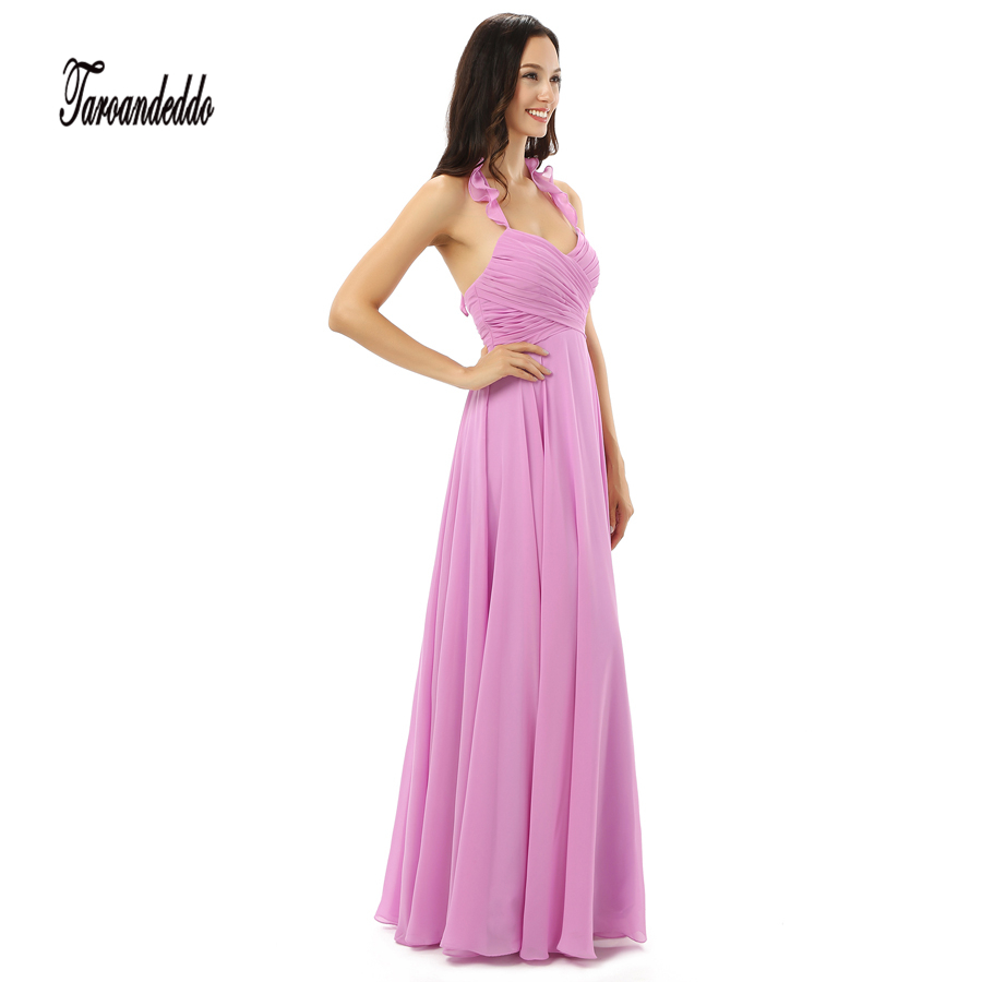 Halter Neckline Ruched Pink Chiffon Floor Length Long Bridesmaid ...
