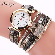 Women Dress Watch New Stylish Owl Crystal Rhinestones Quartz Wristwatch Lady Party Bracelet Casual Watch Relogios Feminino #D(China)
