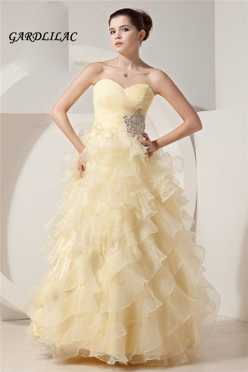 Hot Sale New Yellow Ball Gown Quinceanera Dresses Sweetheart Crystal ...
