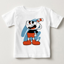 Childrens Game Dabbing Cuphead Cartoon Design T-shirts Kids Comfortable Breathable Premium Soft White T-Shirt Baby MJ