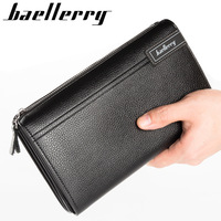 Men Clutch Famous Brand Men Soft Leather Long Wallets Purse Card Holder Large Capacity Male Clutch