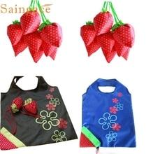 Portable New Simple Strawberry Random pattern flower Folding Convenience Storage Bag Shopping Bag Cloth Folding feb14