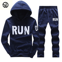 Casual Hoodie Men Tracksuit Men Set Sweat Suit Men New 2018 Brand Autumn Winter Fleece 2PCS