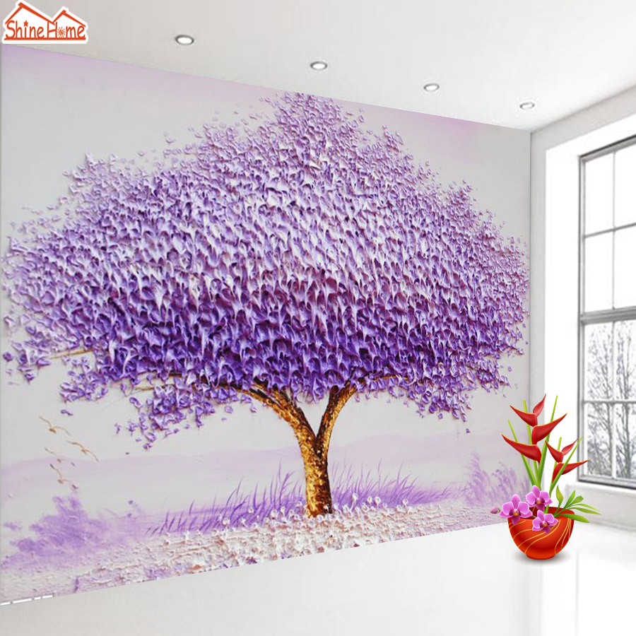 ShineHome-Modern Fantasy Purple Tree Painting Background Walls Wallpapers Rolls 3 d Wallpaper for Livingroom Wall 3d Paper Roll shinehome modern banana leaf strip abstract background wallpapers rolls 3 d wallpaper for livingroom walls 3d kids room paper