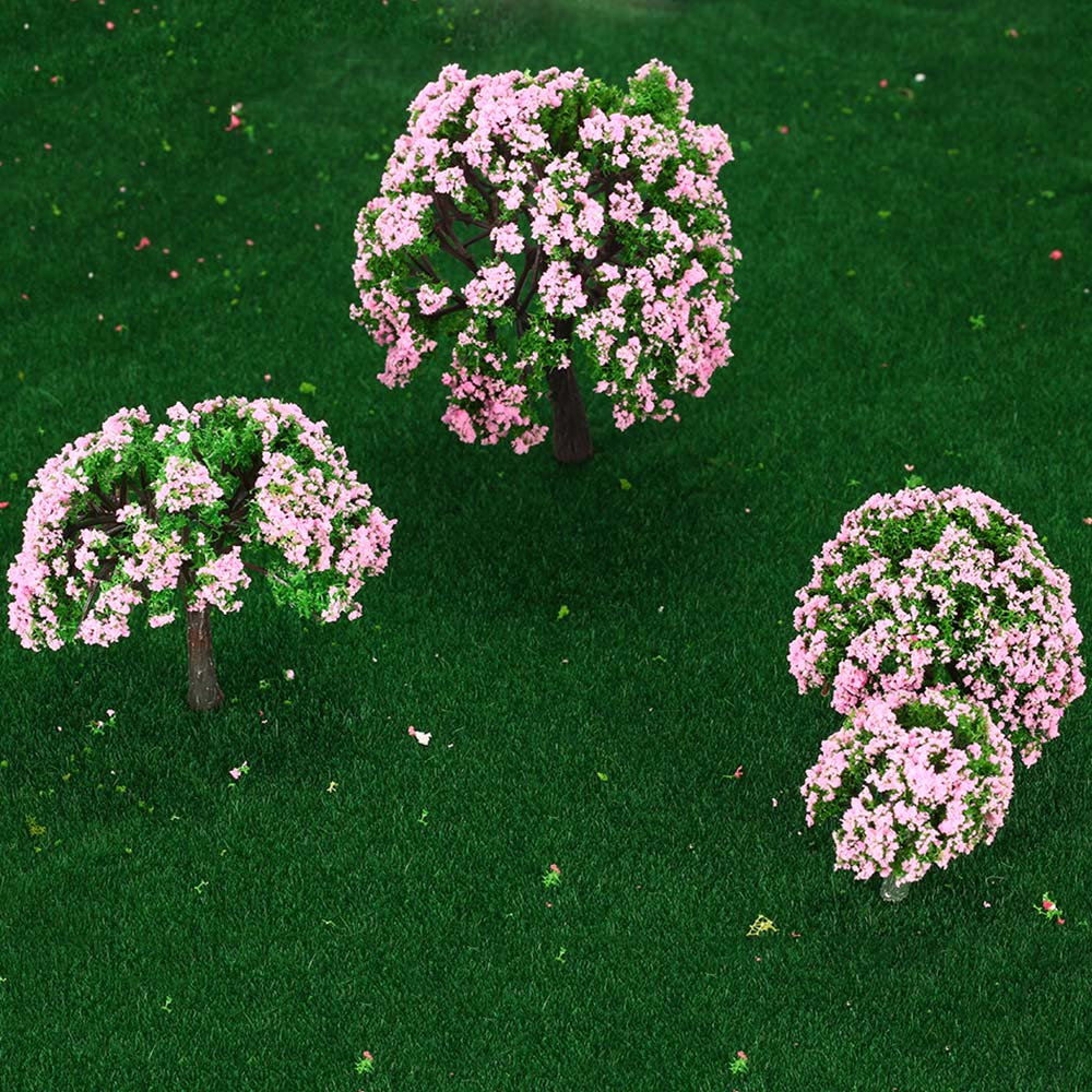 4 Pcs Plastic Model Trees Train Layout Garden Scenery White And Pink