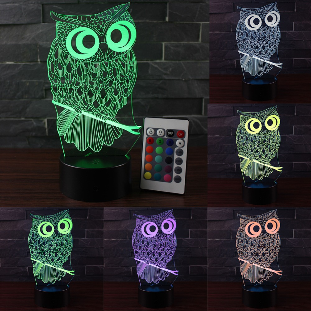 3D Illusion Led Lamp Owl 7 Color Change Led Bulb Decoration Animal Night Light Touch Sleeping Nightlight Table Lamp Boys Gifts image