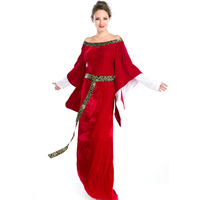 Vintage 중세 르네상스 빅토리아 럭셔리 코스프레 의상 할로윈 레드 긴 dress 유럽 로얄 레트로 법원 dress a158716