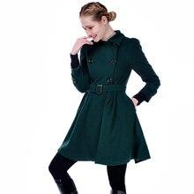 ForeMode Women Woolen Long Sleeve Medium long Winter Belt Coat Buckle Double Breasted Women Dress Wool