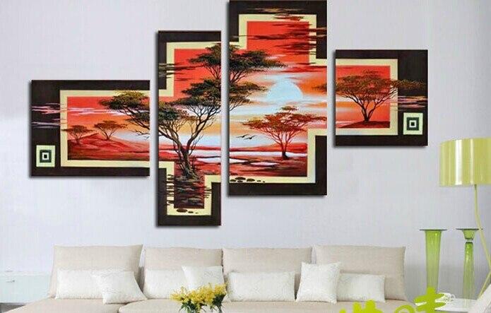 Moda Modern pintados à mão áfrica pintura a óleo sobre tela paisagem sunrsing pinturas sem moldura