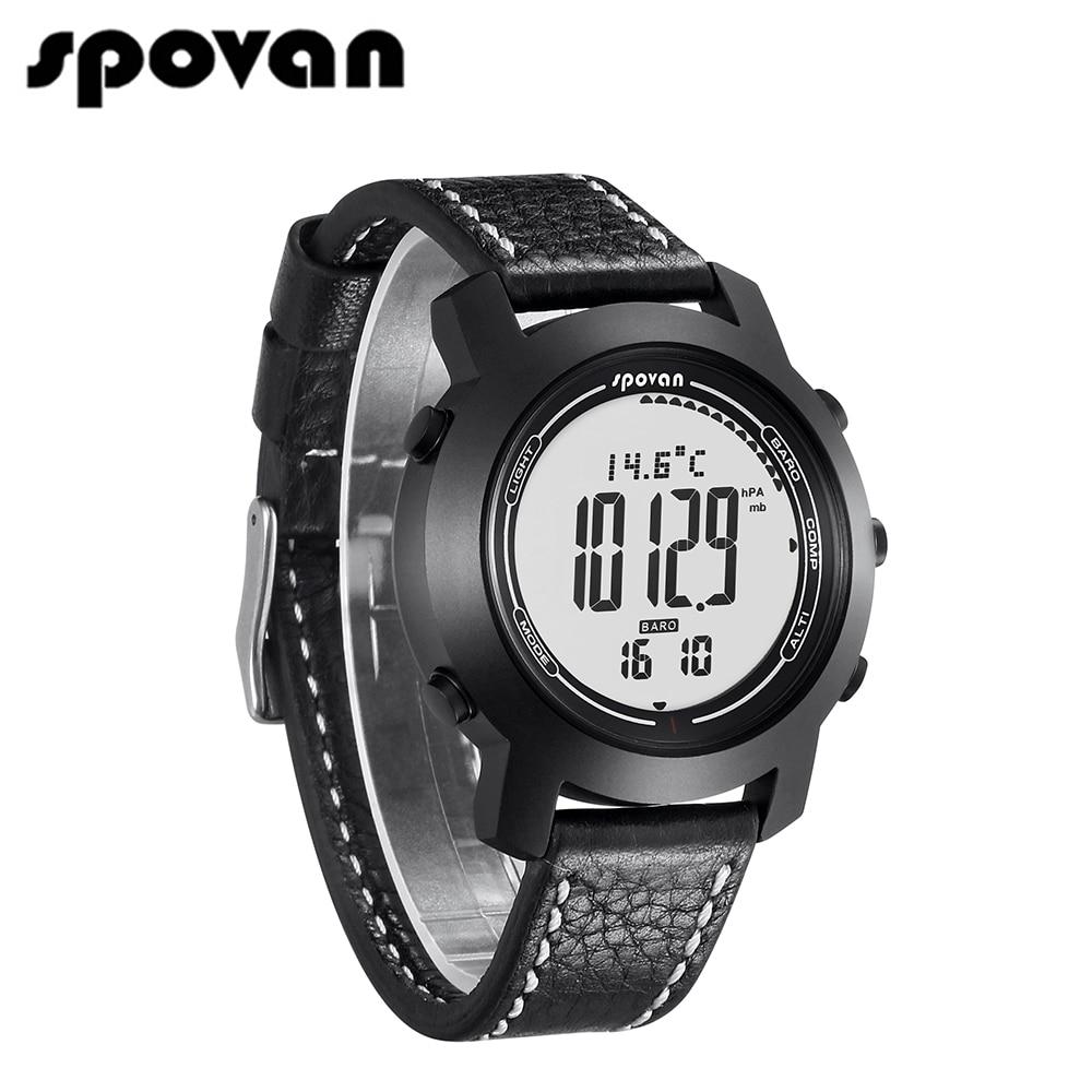 SPOVAN Ενημερωμένα αθλητικά ρολόγια ανδρών της Bravo2S Brand, γνήσια δερμάτινη σιλικόνη, 3D βηματόμετρο