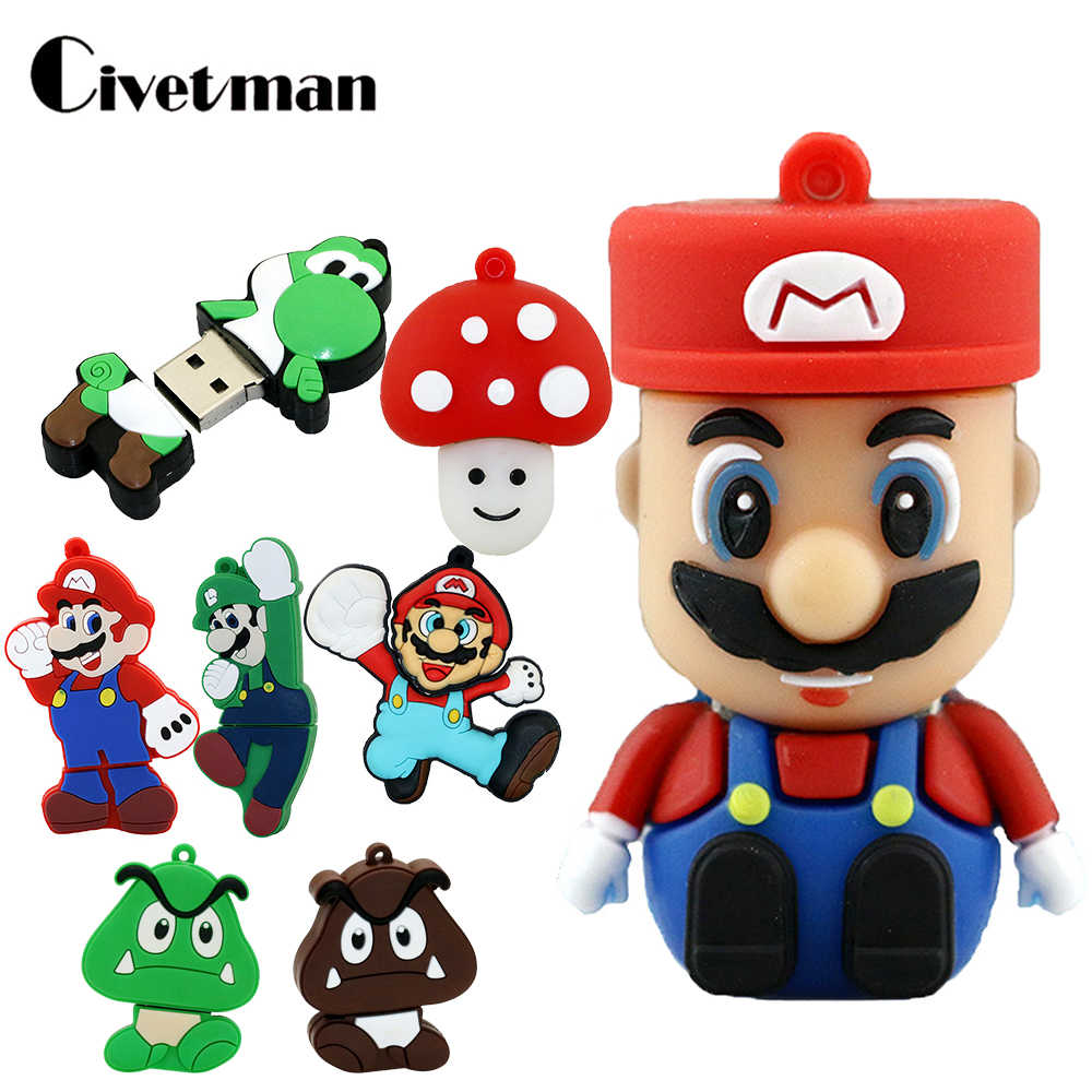Cle USB Stick 32 GB Dos Desenhos Animados Super Mario Bowser GB Engraçado Usb Flash Drive Pendrive 128 GB 64 16 GB memory Stick Disk 8 GB 4 GB Pen Drive