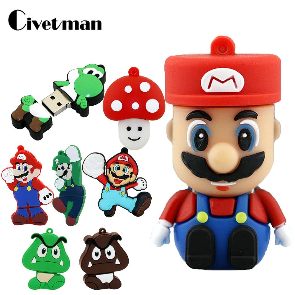 Cle USB Stick 32GB Super Mario Cartoon Bowser Pendrive 128GB 64GB Funny Usb Flash Drive 16GB Memory Stick Disk 8GB 4GB Pen Drive