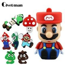 Pendrive 128GB Memory-Stick Bowser Cle Funny Usb Super-Mario Cartoon Disk 16GB 4GB 32GB