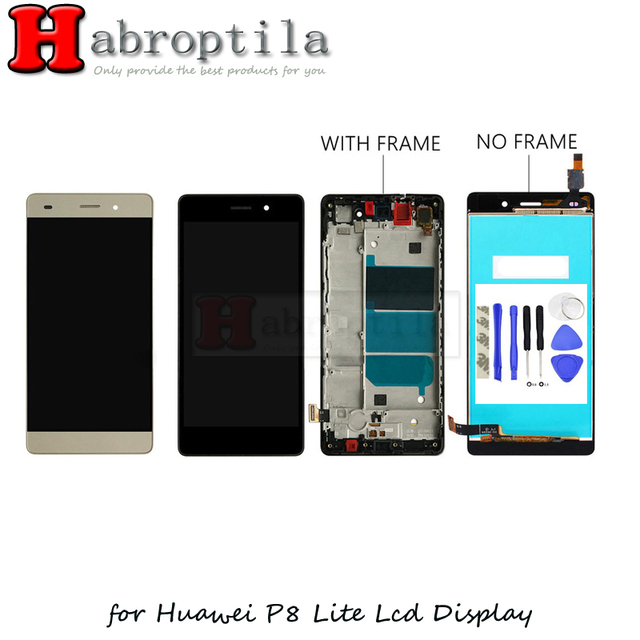 "10Pcs/Lot With 3M Tape+Tools 5.0"" For Huawei P8 Lite ALE-L04 ALE-L21 LCD Display Touch Screen Digitizer Assembly With Frame"