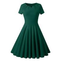 Queenus Women Vintage Dresses 2018 Spring Summer Fall Burgundy Plain Elegant V Neck Green Short Sleeve