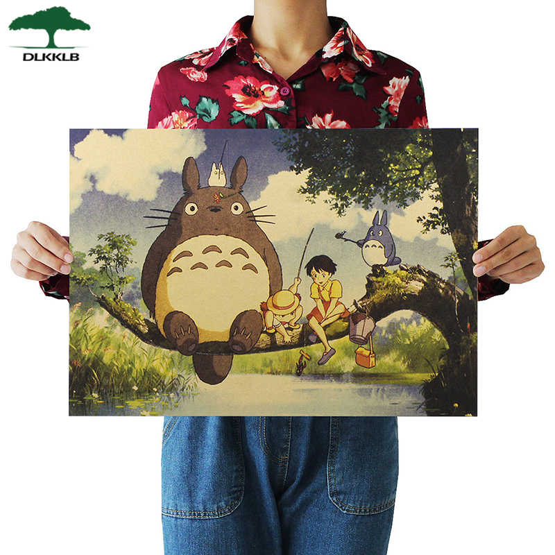 Dlkklb Retro Totoro Kraft Paper Posters Japanese Anime Totoro Wall Sticker Kids Room Decoration Vintage Poster