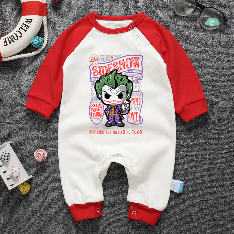 d1301285379f5 Nouveau né bébé automne hiver combinaisons pyjamas Batman le Joker dessin  animé bébé garçon vêtements à manches longues infantile filles o cou  barboteuses ...