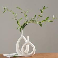 Ceramic Home Crafts Ornaments White Vase Small Flower TV Cabinet Wine Decorations Vases