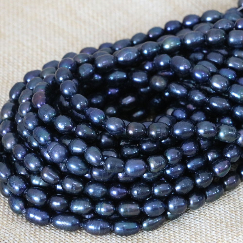 Beads & Jewelry Making Jewelry & Accessories Black Natural Cultured Freshwater Pearl Rice Beads Charms Women Wholesale Retail Loose Jewelry Making 15inch B1369