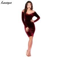 Laceyce 2018 Elegant Long Sleeve Dress Sexy Deep V Neck Casual Bodycon Dress Fashion Women Celebrity