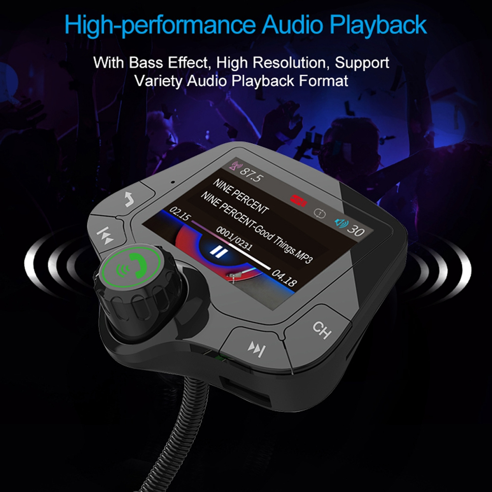 Image 4 - G24 HD Color Screen Wireless Car Kit Bluetooth MP3 Player Hands free Calling FM Transmitter Car Kit support QC 3.0 Fast charger-in FM Transmitters from Automobiles & Motorcycles