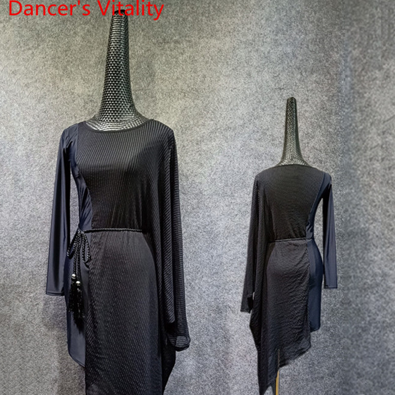 Nouveau adulte Latin danse Perspective bandes pure asymétrique pratique vêtements femmes Rumba Samba Tango Cha Cha danse porter des vêtements