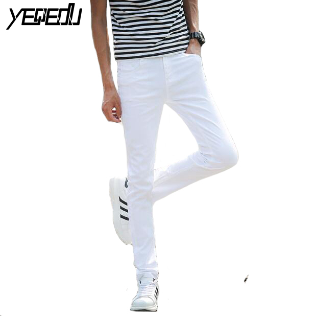#1411 Light blue/white jeans men teens Skinny Stretch jeans Summer 2018 Lightweight jean homme Slim Cheap Pantalon hombre