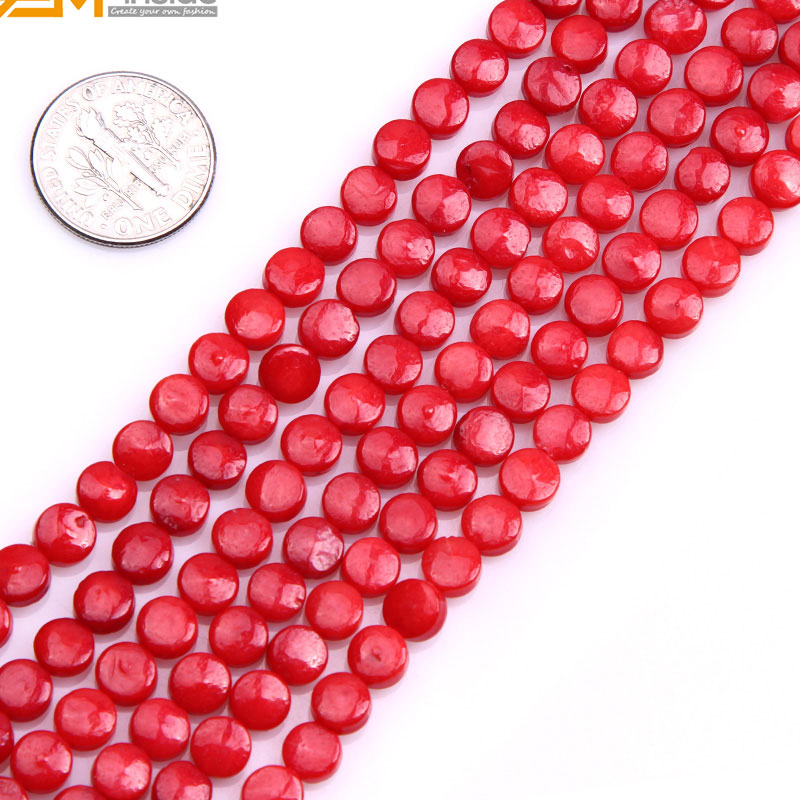 Gem-inside Natural Smooth Genuine Red Flat Coin Coral Beads For Jewelry Making 6mm 15inches DIY Jewellery
