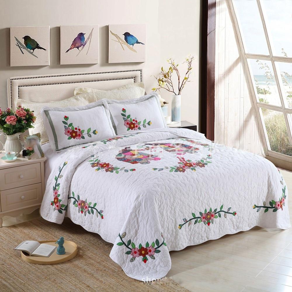 Aliexpress Com Buy Chausub New White Applique Quilt Set