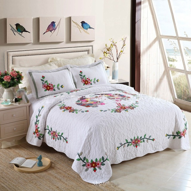 CHAUSUB New White Applique Quilt Set 3PCS Korean Washed Cotton Quilts  Bedspread Bed Cover Pillow 2