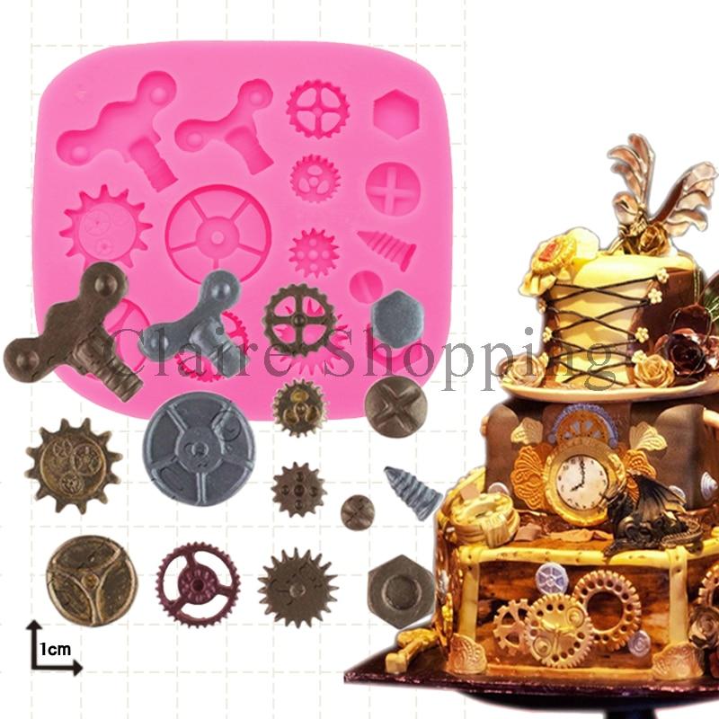 Yueyue Sugarcraft 스팀 펑크 실리콘 케이크 금형 퐁당 금형 케이크 장식 도구 초콜릿 껌 붙여 넣기 금형 점토 곰팡이 비누 금형