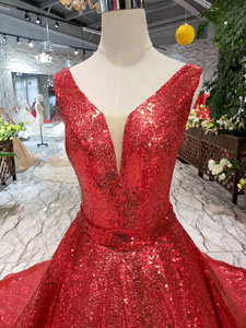 Image 4 - HTL185 red reflective dress A line shiny evening dresses sexy v neck v back sleeves wedding party dresses sparkly robe de soiree