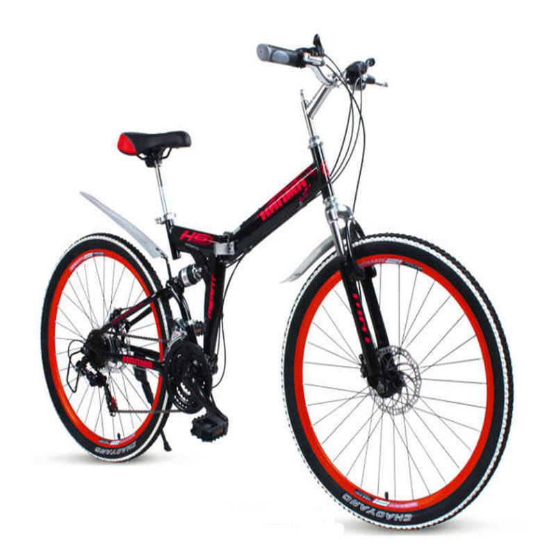 26 Inches Mountain Bike Double Disc Brake Folding Bicycle Soft Tail Frame Strong Load-Carrying Capacity Double Shock Absorber