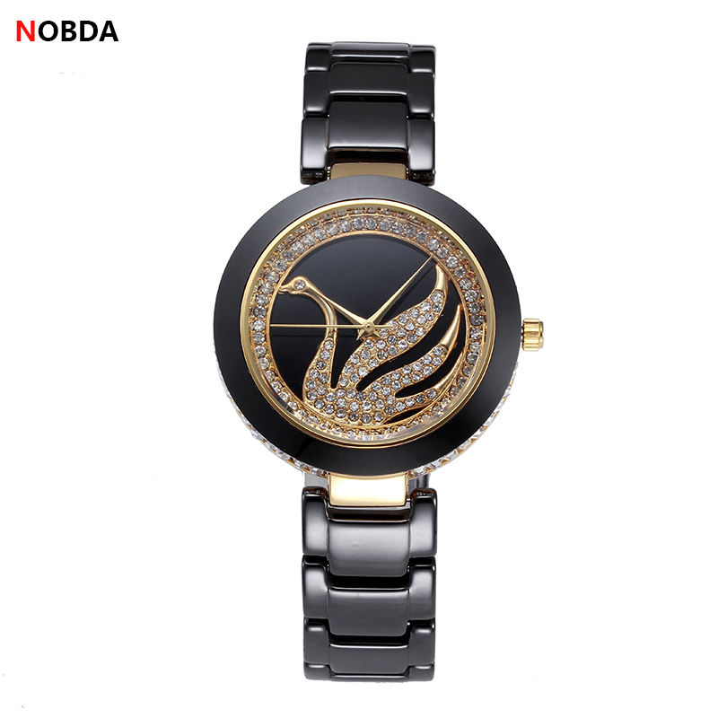 NOBDA Brand Women Watches Luxury Ceramic Quartz Watches Waterproof Swan Rhinestone Ladies Wrist Watch 2017 luxury brand time story women s necklace quartz analog rhinestone anti clockwise watches women waterproof watch